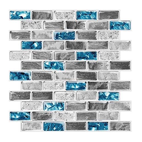 "FlockenHome 3-Sheet Mosaic Glass Teal Light Blue Marble Backsplash Wall Tile Patterns for Kitchen Bathroom Self-Adhesive Backsplash in Sapphire 12""X12"""