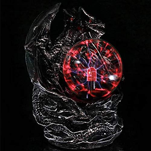 OSALADI - Bola de plasma de 7 pulgadas con flash de dragón y luz nocturna USB recargable, juguete para habitación infantil, color negro