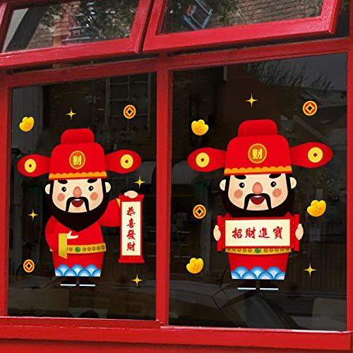 Wrattenmuursticker New Year's Wall Plakken Fortune God Woonkamer Shop Raamdecoratie Glazen Deur Plakken Papier Lente Festival Decoratie 45 * 60 cm