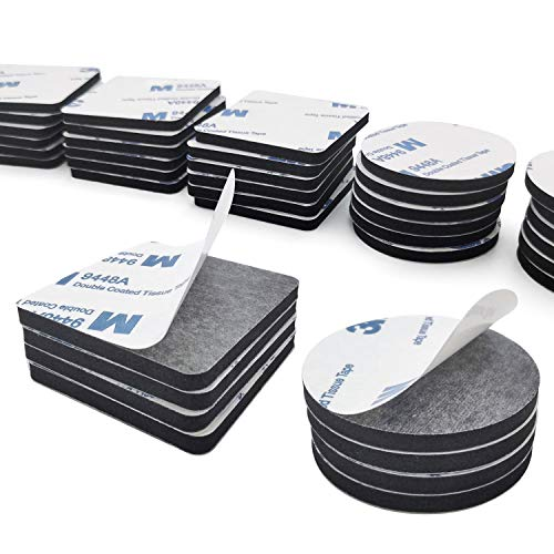 GieniG 強力 はがせる両面テープ 飾り貼りテープ 壁傷つけないテープ 強粘着力 防水 耐熱 車用テープ 事務用品 修理固定用 屋内用 100個入れ 50個方形+50個円形 (黒い)