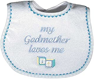 Raindrops My Godmother Loves Me Embroidered Bib, Blue