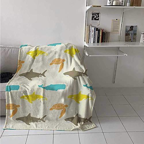 Nazi Mie Meerestiere Decke Muster mit Walhai und Schildkröte Aquarium Gekritzel Unterwasserwelt Decke Elfenbein Taupe Pfirsich
