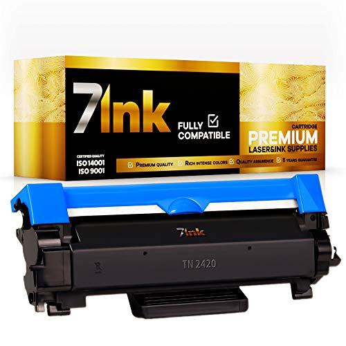 7Ink TN2420 TN-2420 - Cartucho de tóner compatible para Brother TN2410 TN-2410 (compatible con Brother MFC-L2710DW HL-L2350DW DCP-L2530DW HL-L2370DN DCP-L2510D HL-L2375DW HL-L2310D MFC-L2730DW (2 )
