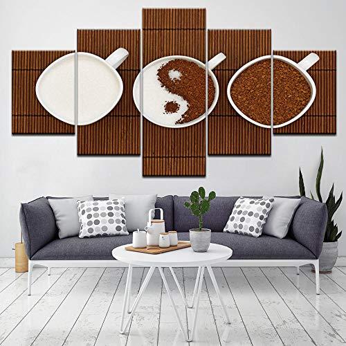 ZLARGEW Coffee and Mike 5 Piezas HD Art Canvas Print Póster Moderno Pintura de Arte Modular para Sala de...