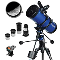 """Aperture: 127mm(5. 0""""). focal length: 1000mm. Focal Ratio: f/7. 9. Rack-and-pinion Focuser, setting circles, Latitude control w/ Scale Large, stable German equatorial mount with slow motion controls makes tracking celestial objects smooth and simple ..."""