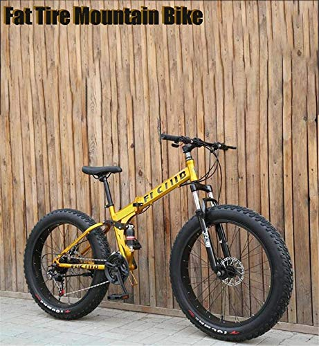 HCMNME durable bicycle Folding 17-Inch Fat Tire Mens Mountain Bike, Double Disc Brake/High-Carbon Steel Frame Bikes, 7-27 Speed, Snowmobile Bicycle 26 inch Wheels Alloy frame with Disc Brakes