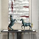 DDXW Ornamentos Estátuas Esculturas Animal da sorte Cavalo Resina Enfeites Casa Sala de Estar Acessórios de Mesa Artesanato Hotel Escritório Estatuetas de Mesa Decoração-Style3-2Pcs_As_Shown