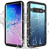 Pleson Samsung Galaxy S10 Plus Waterproof Case with Built-in Clear Screen Protector, 360° Full Body Protection Rugged Anti-Drop Protective Phone Case Underwater Snowproof Dirtproof Shockproof