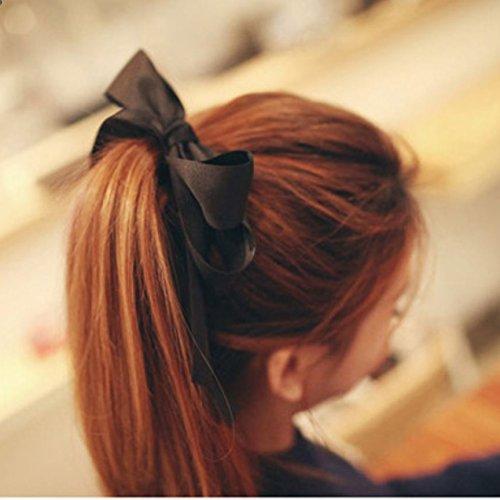 Miya® hochwerige Mädchen süße Haargummi Haarschmuck Haarband mit schöner eleganter Schleife aus Spitze Satin in Schwarz (schwarz)