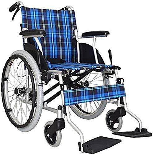 QDY Sedia a rotelle per Sedia a rotelle Comfort e Sicurezza per Adulti Sedia a rotelle, Sedia da Viaggio Portatile per Sedia a rotelle con Telaio in Lega di Alluminio Pieghevole da Trasporto