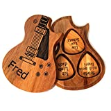 Zakally Personalized Custom Engraved Wooden Customizable Guitar Pick Holder Box Case DIY Guitar Pick Gift for Son (sty1)