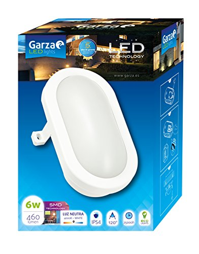 Garza Lighting Outdoor - Plafón LED Oval de Exterior, Potencia 6W, Protección...