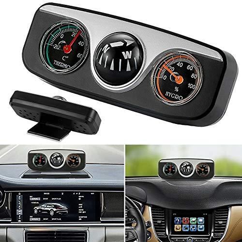 Kinnart Reloj despertador de coche con pantalla LCD digital, 3 en 1 con termómetro digital automático, termómetro higrómetro brújula