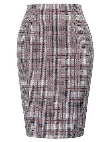 Kate Kasin Womens Knee Length Elastic Waist Stretchy Bodycon Plaid Business Pencil Skirt