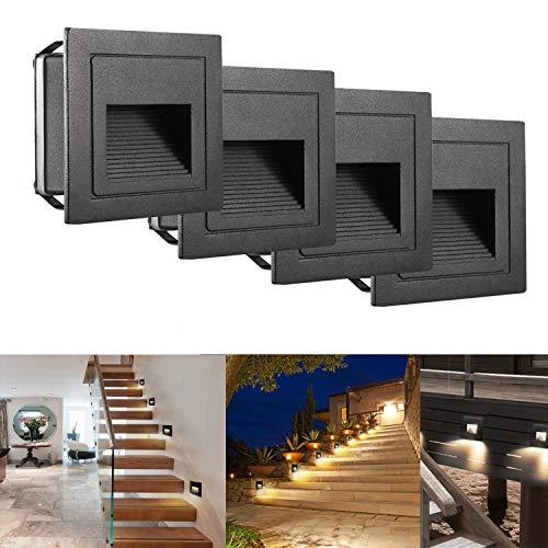 SUBOSI LED Treppenlicht Aluminium 230V 3W Glas Wandleuchten Treppenlicht mit Unterputzdose Treppenlicht Wandleuchte IP65 wasserdicht warmweiß,4 Stück