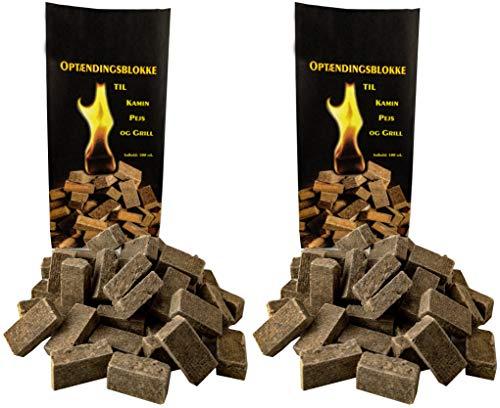 Norr-Dan 2 x 100 (insgesamt Also 200 Stück) natürlicher Ofenanzünder aus Holzfaser # Grillanzünder Kaminanzünder Holzanzünder Feueranzünder Anzündwürfel Anzündhilfe (2 x 100)