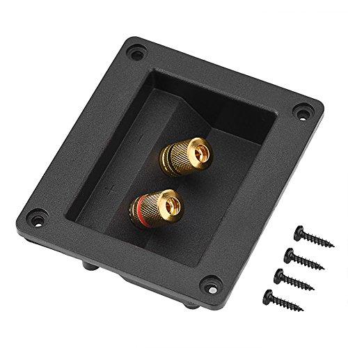 ASHATA-luidsprekeraansluitdoos, akoestische componenten voor HiFi-luidspreker 2 Koperen aansluitpaal Aansluitkabel Aansluitdoos Behuizing, Zuiver verkoperde bedradingsaansluitklem Aansluitconnector
