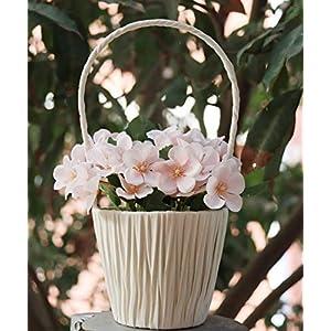 sarosora artificial begonia flowers in hanging basket – fake plants for birthday wedding festival indoor home decoration (light pink, white basket) silk flower arrangements