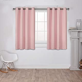 Exclusive Home Curtains Sateen Twill Weave Blackout Window Curtain Panel Pair with Grommet Top, 52x63, Blush, 2 Piece