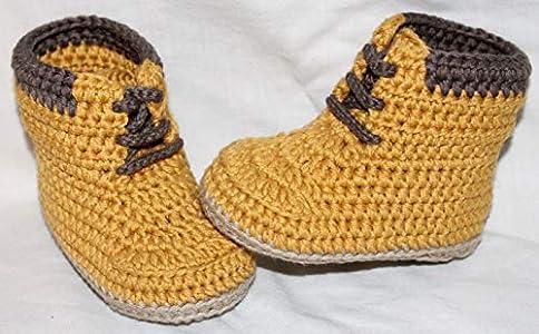 Patucos para bebé de crochet, Unisex. Botas Estilo Panamá, de color mostaza, 100% algodón, tallas de 0 hasta 9 meses, hechos a mano en España. Regalo para bebé.