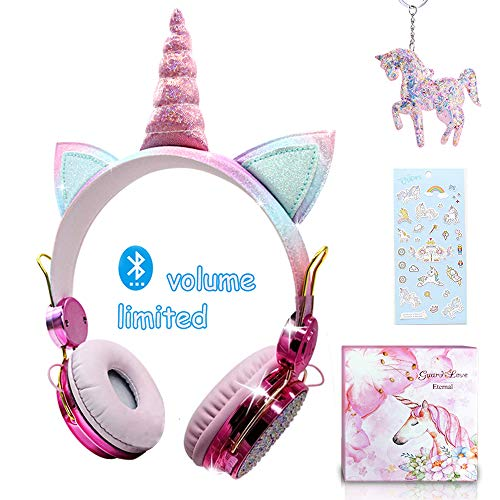 Cuffie Bluetooth per Bambina,Cuffie Unicorno 85dB Volume Limiting,Cuffie Wireless per...
