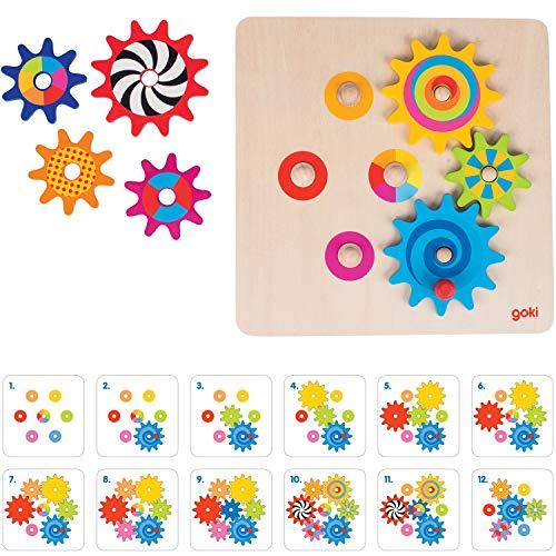 cama24com Zahnradspiel aus Holz 8 Teile von goki mit Palandi® Sticker