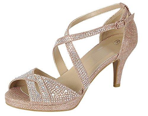 Cambridge Select Women's Peep Toe Crisscross Ankle Strappy Glitter Crystal Rhinestone Mid Heel Sandal (10 B(M) US, Rose Gold)
