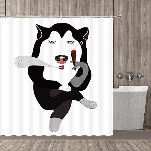 EdCott Cartoon Husky Rauchen Duschvorhang Animation Siberian Husky Rauchen Badezimmer Duschvorhang Weißer Hintergr& Schwarz Husky Rauchen Duschvorhang Dekoration 72X72inch