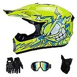 RAON Caschi Moto Motocross e Guanti & Occhiali di Certificazione D. O. T per Bambini Quad Bike ATV Go Karting Casco,Yellow,L(56~57cm)