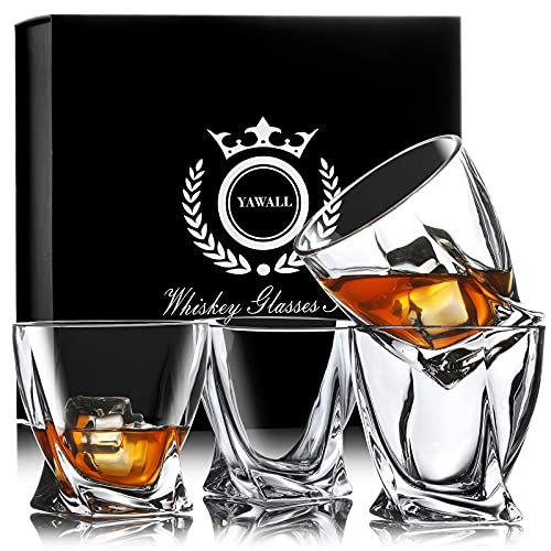 Whiskey Glasses, YAWALL Bourbon Glass Set of 4, Premium 10 Oz Crystal Old Fashion Rocks Barware for Scotch Whisky Cognac Liquor and Cocktail Drinks, Lowball Tumblers with Gift Box