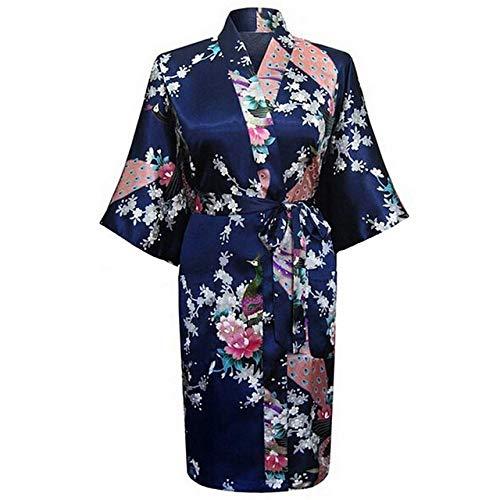 Satén Azul más Pijamas de Gran tamaño para Mujer Ropa de Mujer Bata de baño Vestido de Novia de Dama de Honor