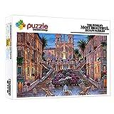 1000 Piezas Jigsaw Puzzle Hermosa Villa Fuente Flores Y Edificios Fantasía 1000 Piezas Puzzles Junior Para Niños Niñas Educativos Para Bebé Para Desarrollar La Imaginación De Los Niños (75 × 50 Cm)
