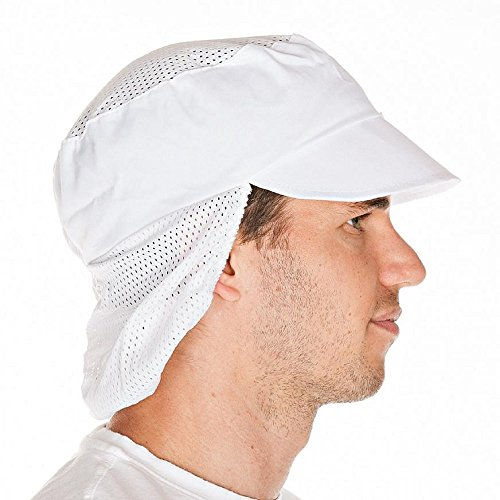 Schildmütze mit Haarschutz, Gummizug und Netzteil Weiß – Industriewäsche geeignet - 2
