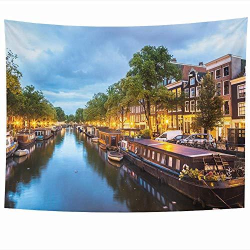 Tapisserie Red Amstel Canals Amsterdam Nacht Hauptstadt Himmel Die meisten Parks Stadthaus Fluss Architektur Boot Brücke Wandbehang Wandteppiche Wohnkultur Druck für Wohnzimmer Schlafzimmer Wohnheim