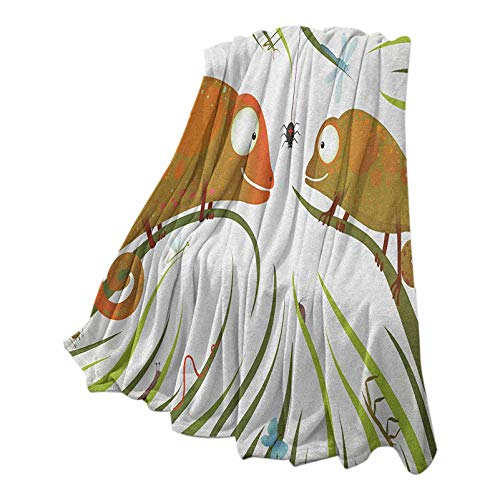Chameleons Baby Blanket Ultra Luxurious Warm Hungry Animals Grass Looking at Spider Insect World Illustration Worm Ladybug Multicolor 40' W x 50' L