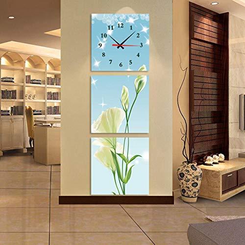 WFQGZ Reloj de Pared Mural Primavera cálida Flores tríptico Reloj Creativo Arte Hora Mano Sala de Estar Porche Pintura Decorativa Vertical sin Marco Cuadro Reloj de Pared 50X50