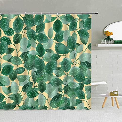 None brand GrüNe Pflanze Blume MarienkäFer-Vier-Blatt-Klee-Duschvorhang-Polyester-Gewebe Hohe QualitäT Mit Haken Badewanne-Dekor 3D Gedruckt-W180xH200cm