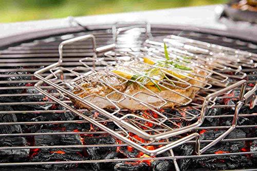 Fisch Grillzange Fischhalter Gemüsegrill Fischgrill Pescado | Innovative Profi Fischhalterung Fischzange Grill aus Edelstahl | Grill Fischhalter ideal zum Fisch Grillen | Maße: 27,5 x 23 x 6 cm