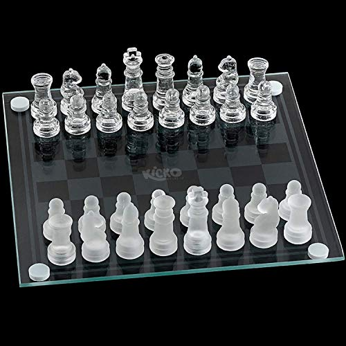 Kicko Small Glass Chess Set - 7.5 Inch - 33 Pieces - Transparent Board Game with Frosted and Clear Pieces, Felt Bottom, and Storage Box with Carrying Handle - for Family Game Night, Kids, Boy or Girl
