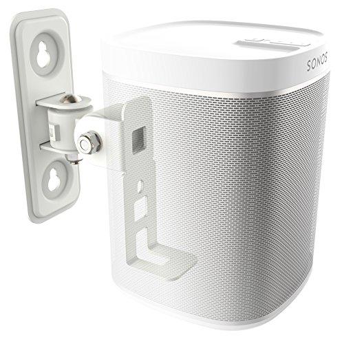 RICOO Lautsprecher-Boxen Wand-Halterung Schwenkbar Neigbar (LH431-W) Wand-Montage Drehbar für SONOS® Play 1, Musik-Streaming WLAN Airplay Multi-Room Speaker Full-Motion Wall-Mount