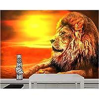 壁飾り画 3D壁画ライオン日没夕景フレスコリビングルームベッドルーム背景壁の装飾-280X200Cm
