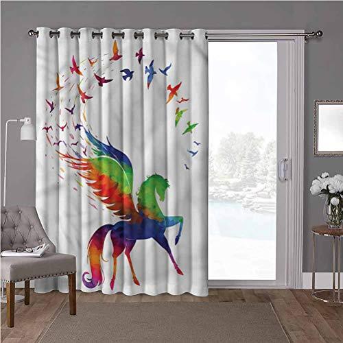 YUAZHOQI Panel de cortina de aislamiento térmico de alta calidad, pájaro, alas de vuelo de Pegasus, coloridas, 100 x 96 pulgadas de ancho persianas verticales para puerta de honda (1 panel)