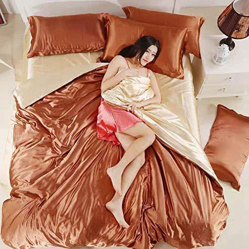 funda nordica cama 180,Verano ropa de cama de hielo fresco cama deslizante de seda de cuatro piezas sim simulación de estudiante seda seda ropa de cama individual-GRAMO_Cama de 2,0 m (4 piezas)