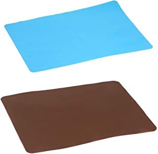 2 Pack Large Silicone Sheet for Crafts Jewelry Casting Molds Mat, Food Grade Multipurpose Silicone Placemat, Waterproof No...