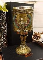 Ebros 古代エジプト 大型 16オンス 円筒形ワインゴブレット 聖杯 黄金の象形文字のハウジングと装飾されたロイヤルパピルス ウレイウス・コブラの彫刻ステムベース (ホルス・ファルコン・オブ・ザ・スカイの神)