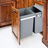 jxgzyy Pull Out Waste Container, 20 Quart + 10 Quart Kitchen Integrated Cupboard Cabinet Waste Bin, Built in Sliding Trash Can with Dual Bucket for Garbage Classification