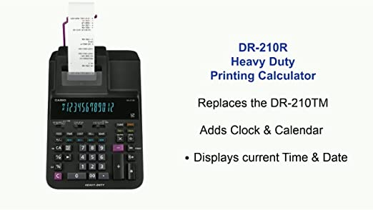 Casio DR-210R Calculator Ink Ribbon Black//Red 2 PACK
