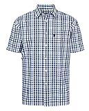 Walker and Hawkes - Camisa de Manga Corta para Hombre - 100% algodón - Estilo leñador - Estampado a Cuadros - Azul - M (40'')