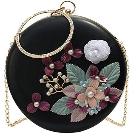 TENDYCOCO Runde Abendtasche Blumen Clutch Bag Kreis Griff Handtasche Perle Perlen Blume Geldbörse Umhängetasche für Frauen Damen