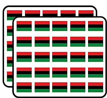 Rectangular Pan Africa Flag - Black History African Love Sticker for Scrapbooking Calendars Arts Kids DIY Crafts Album Bullet Journals 50 Pack
